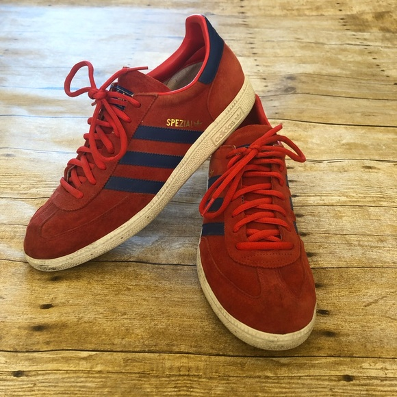 Adidas Spezial Shoes Red, Royal & Gold